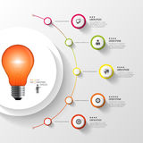 Infographic 钞票电灯泡企业想法光 与象的五颜六色的圈子 向量 库存图片