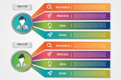 Business process infographics woman and man icons 4 steps or options.People concept statistic elements colorful for project royalty free illustration