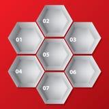Infographic与六角形形状的背景设计 免版税图库摄影