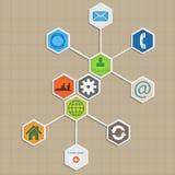 Infographic模板设计-六角形背景。 免版税库存图片