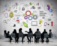 Επιχειρησιακή συνεδρίαση με την επιχείρηση Infographic Στοκ εικόνα με δικαίωμα ελεύθερης χρήσης