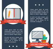 平的infographic教育横幅。 库存照片