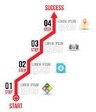 Варианты диаграммы диаграммы стрелки Infographic с плоскими значками для шаблона дизайна плана Стоковое Изображение