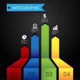 Infographic五颜六色的图表皮革黑色背景 免版税库存照片
