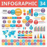 Элементы 34 Infographic Комплект элементов дизайна вектора в плоском стиле для представления, буклета, вебсайта и проектов дела Стоковые Фото