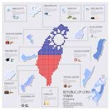 Χάρτης σημείων και σημαιών της Δημοκρατίας της Ταϊβάν του σχεδίου της Κίνας Infographic Στοκ Εικόνα