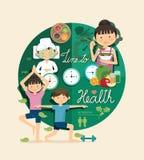 Время мальчика и девушки к здоровью и красоте конструирует infographic, учит Стоковые Фотографии RF