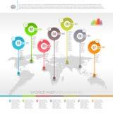 世界地图infographic与地图尖 免版税图库摄影