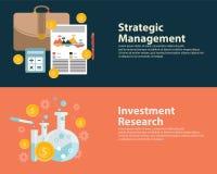 平的样式企业成功战略目标infographic概念和投资研究 网被设置的横幅模板 免版税库存照片