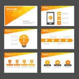 Το αφηρημένο πορτοκαλί κίτρινο infographic επίπεδο σχέδιο προτύπων παρουσίασης στοιχείων και εικονιδίων έθεσε για τον ιστοχώρο φυ Στοκ Φωτογραφία