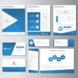 Дизайн голубых элементов Infographic шаблона карточки представления листовки рогульки брошюры дела плоский установил для маркетин Стоковое Фото