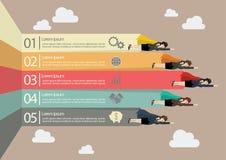 Супергерой бизнес-леди с стрелками infographic Стоковые Изображения