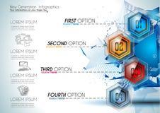 Infographic Abstract malplaatje met 4 knopen van het keuzenglas Stock Foto