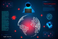infographic abstract technology concept information of ransomware alert warning, antivirus, malware, hacker and virus crime ; stock illustration