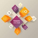 infographic abstracto de los cubos 3d o de las cajas Fotografía de archivo libre de regalías