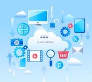 Infographic abstrait pour des services de calcul de nuage illustration de vecteur