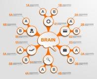 Infographic abstrato como formulários metabólicos no centro do cérebro Elementos do projeto ilustração do vetor