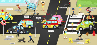 Infographic accidents, injuries, danger and safety caution. On traffic road vehicles cause by cars bicycle and careless people on urban street with sign and Stock Photo