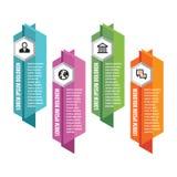 Infographic affärsidé - kulöra vertikala vektorbaner abstrakt banervektor Infographic mall bakgrundsdesignelement fyra vita snowf Arkivbilder