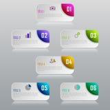 Infographic affärsidé med 6 alternativ, delar, moment Fotografering för Bildbyråer