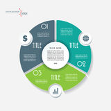 Infographic affärsmall med 3 segment och cirkel stock illustrationer