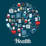 Infographic affisch för medicin med läkarbehandlingsymboler royaltyfri illustrationer