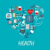 Infographic affisch för medicin med symboler Royaltyfria Bilder
