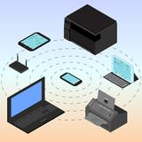 Infographic of all devices connected with a smartphone. Isometric devices laptop, smartphone, tablet, computer, modem, router Stock Images