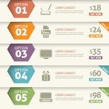 Infographic alternativ och pris Arkivbild