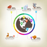 Infographic animals Design Elements Vector Royalty Free Stock Photo