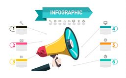 Infographic Announcement Concept with Megaphone and Sample Text. Infographics Design with Icons. Six Steps Data Flow Layout stock illustration