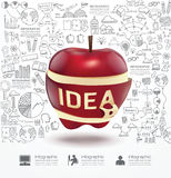 Infographic Apple rabisca o a lápis plano da estratégia do sucesso do desenho Imagem de Stock
