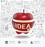 Infographic Apple scarabocchia piano di strategia di successo del disegno a tratteggio Immagine Stock