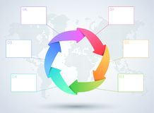 Infographic 6 Arrow Business Diagram With World Map. 3d, international themed, colourful business infographic with 6 overlapping arrows, text boxes and editable stock illustration