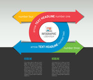 Infographic arrow circle template, diagram, chart with text fields. Royalty Free Stock Image