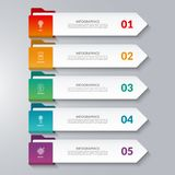 Infographic arrows. 5 options, steps, parts. Vector design elements for infographics. Can be used for workflow layout, diagram chart, graph, web design Royalty Free Stock Photo