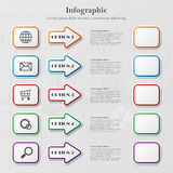 Infographic with arrows and squares. Infographic background with five options with arrows squares Royalty Free Stock Image