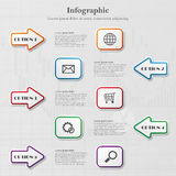 Infographic with arrows and squares. Infographic background with five arrows and squares and sample text Stock Images