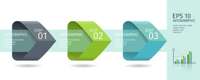 Infographic arrows with 3 step up options and glass elements. Vector template in flat design style. Stock Photo