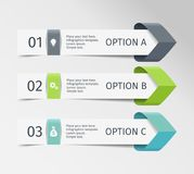 Infographic arrows. Vector design template of 3 options, steps, parts. Can be used for workflow layout, diagram, step by. Step infographics, graph, chart Royalty Free Stock Image