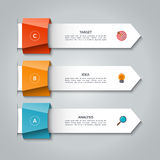 Infographic arrows. Vector template for business infographics with 3 options. Steps, parts. Can be used for diagram, graph, presentation, chart, report, data Stock Photos