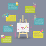 Infographic of art supplies for painting Stock Images
