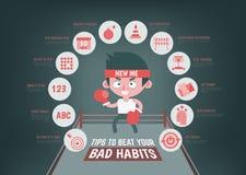 Infographic au sujet des astuces pour changer votre mauvaise habitude illustration stock