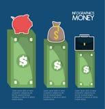 Infographic av pengar och den finansiella objektdesignen stock illustrationer