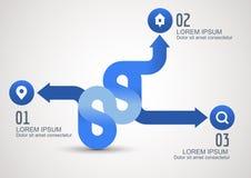 Infographic błękitne strzała z ikonami, wektorowy tło szablon Obrazy Royalty Free