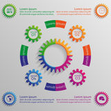 Infographic background with colorful gears. Background for your design and business Royalty Free Stock Image