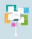 Infographic  background design with white squares and circles. With place for your content.Growth tree concept for communication, business, social media Stock Image