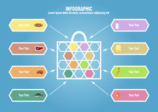 Infographic with bag end foodstuff. With text place Royalty Free Stock Image