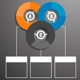 Infographic bajo la forma de círculos con el texto y los gráficos hacen estallar la enumeración Imagenes de archivo