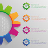 Infographic bakgrund med kugghjul Arkivbilder